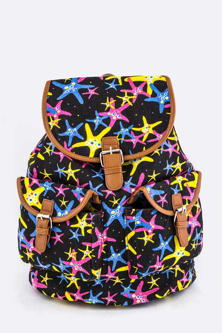 Comic Starfish Print Canvas Backpack
