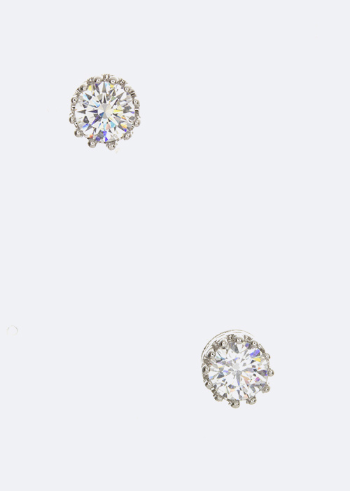 Round CZ Crown Stud Earrings