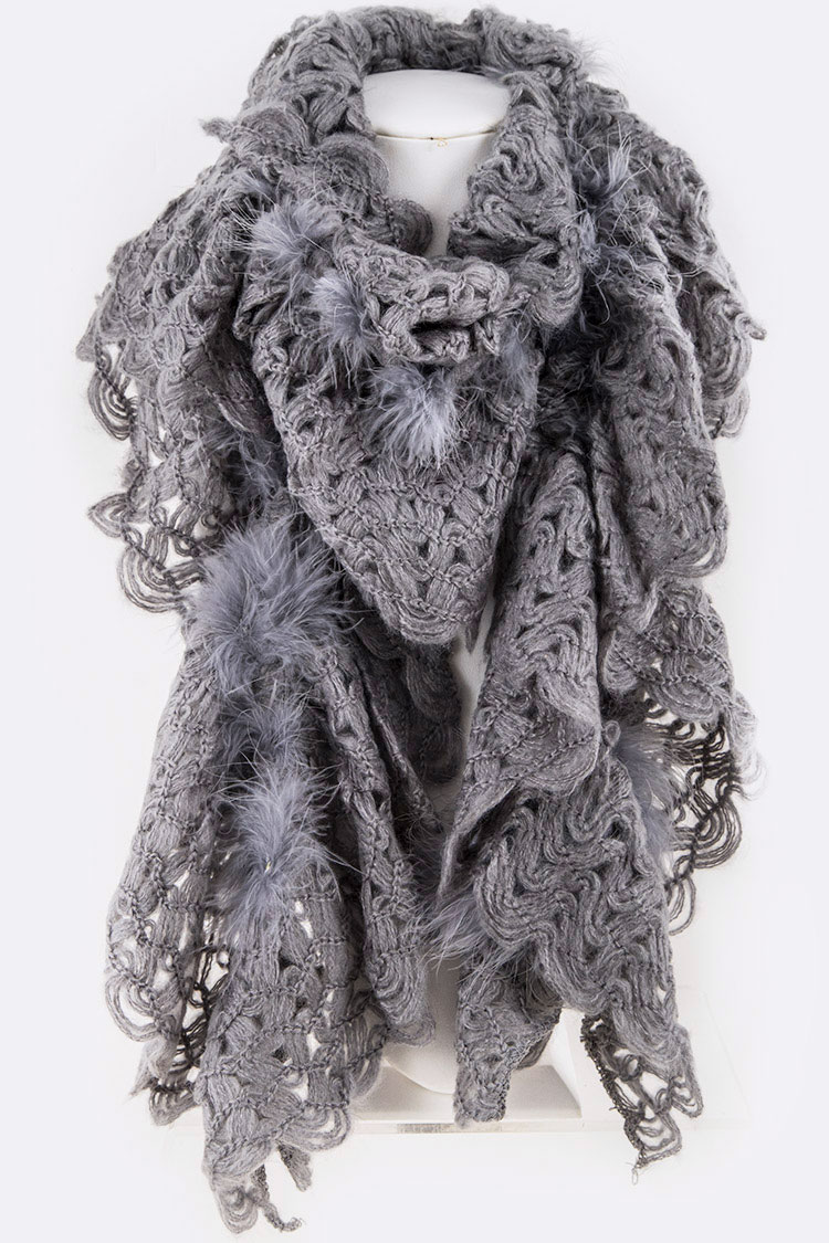 Fur Trim Accent Ruffle Loose Knit Fashion Scarf