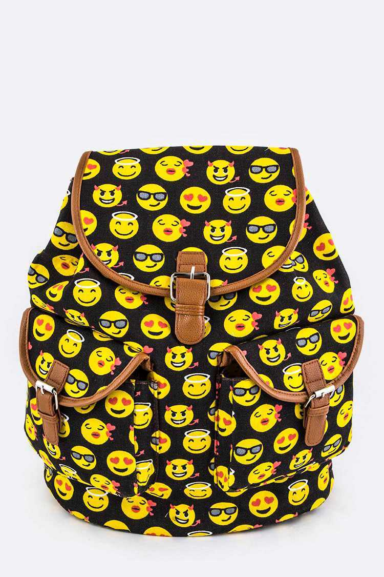 Emoji Print Canvas Backpack