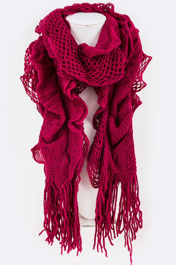 Loose Crochet Mix Knit Ruffle Winter Scarf