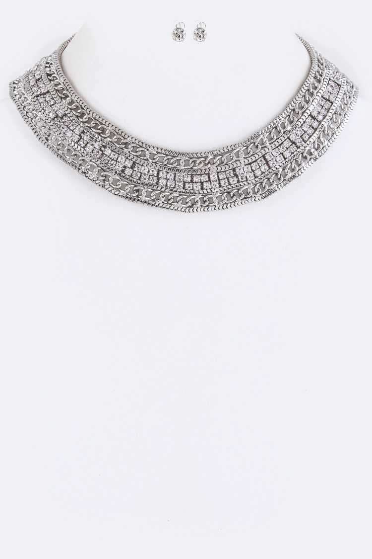 Layer Chain & Crystal Collar Necklace Set