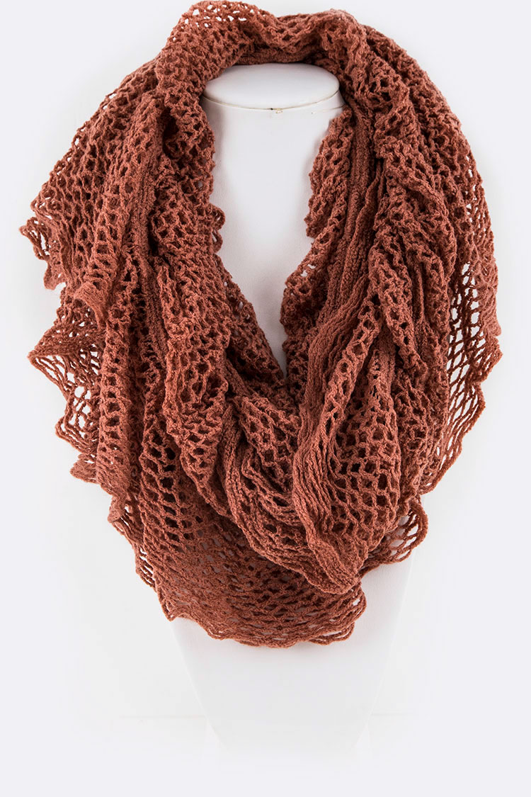 Ruffle Crochet Open Knit Fashion Scarf