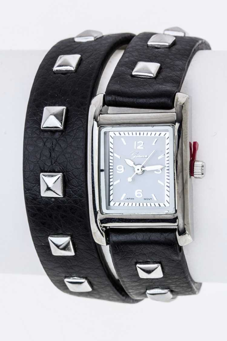 Wrapped Studded Leather Band Watch