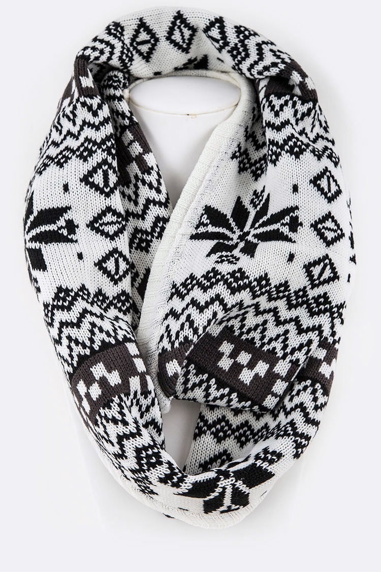 Snowflake Intarsia Infinity Holiday Scarf