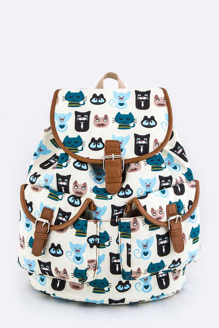 Comic Cats Print Canvas Backpack