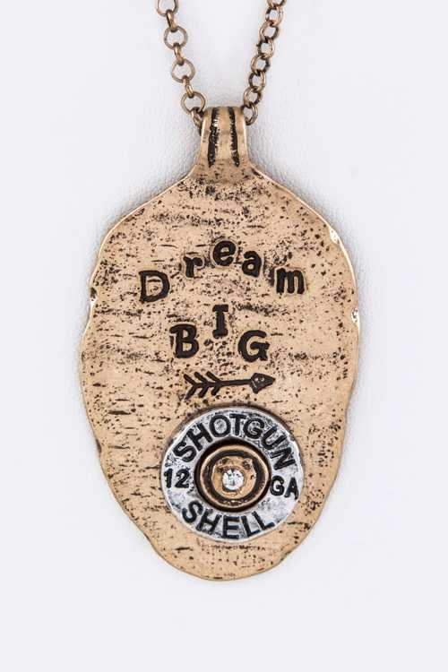 Dream BIG Hammered Spoon Pendant Necklace Set