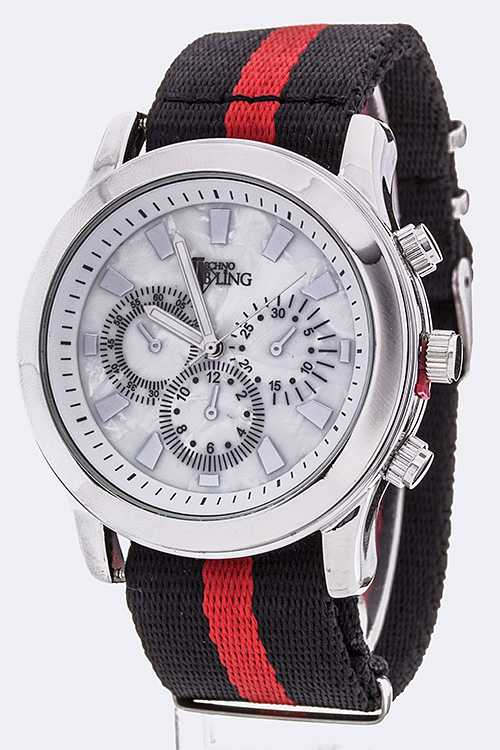 Stripe Webbing Strap Sports Watch