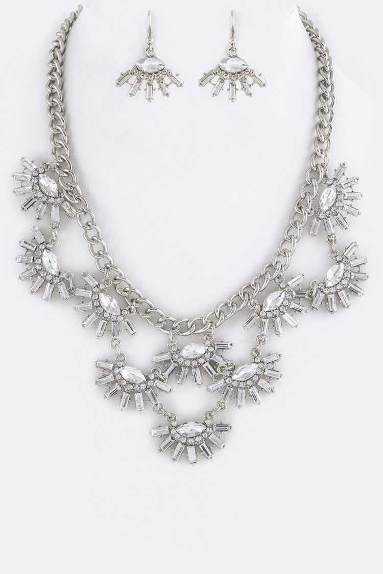 Crystal Fans Statement Necklace Set