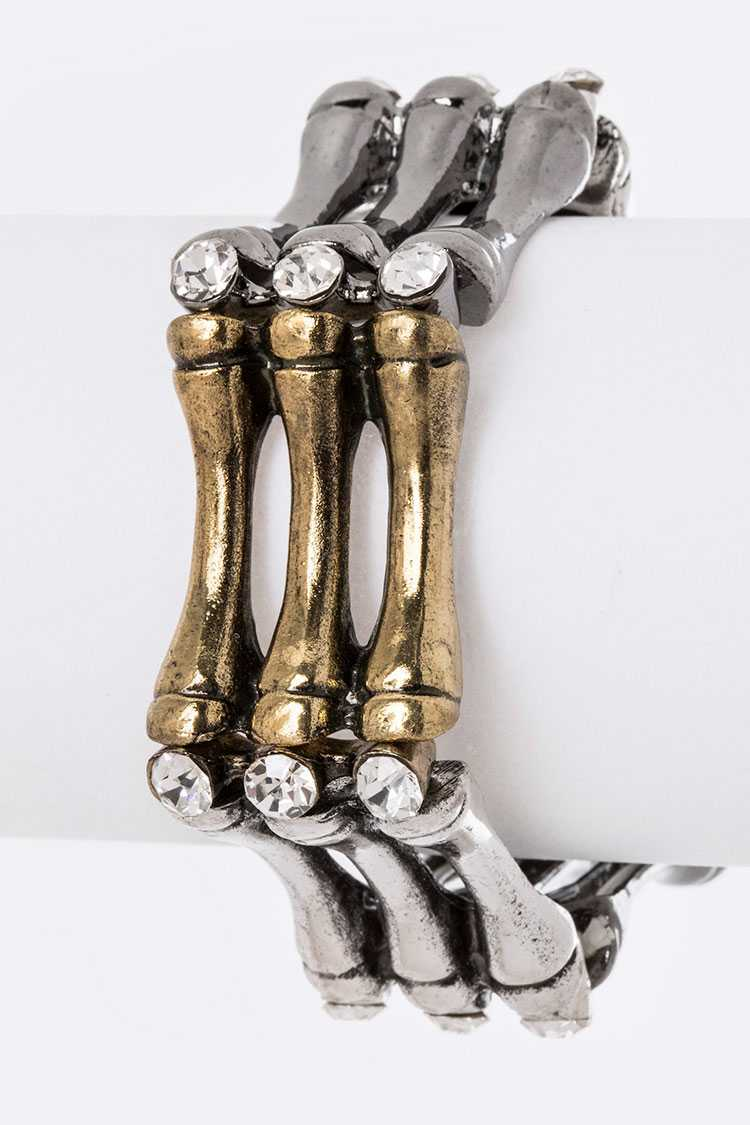 3 Tone Metal Bones & Crystal Stretch Bracelet