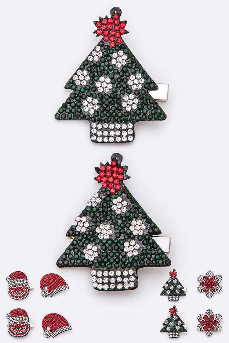 Christmas Theme Crystal Hair Clip Set