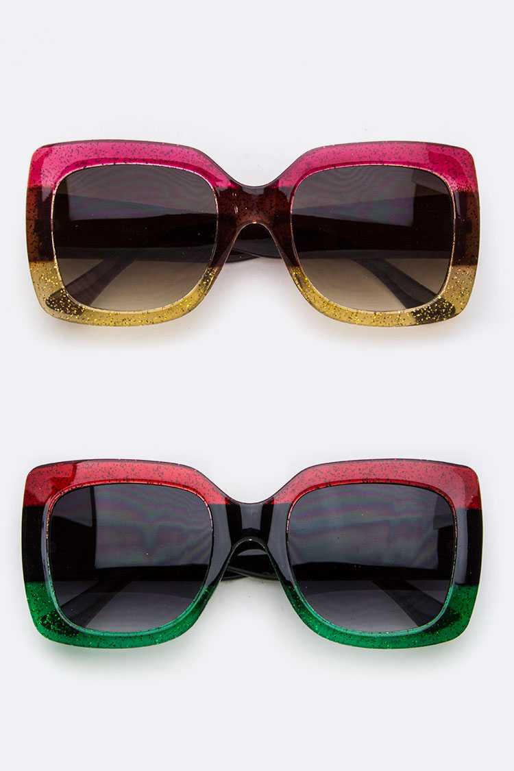 2 Tone Glittered Square Sunglasses