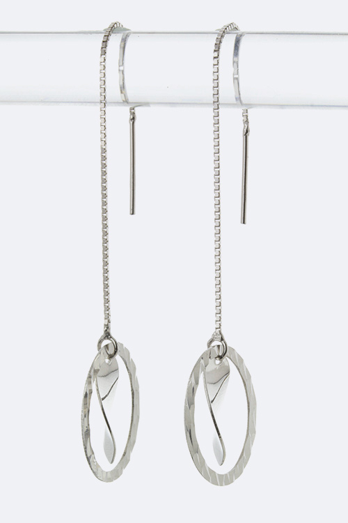 Sterling Silver Hoop & Twisted Drop Pull Through Earrings