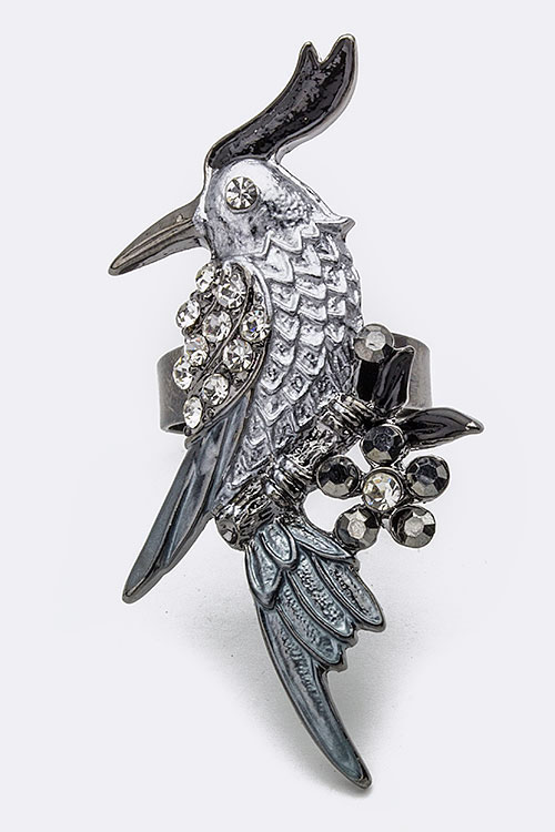 Statement Parrot Crystal Ring