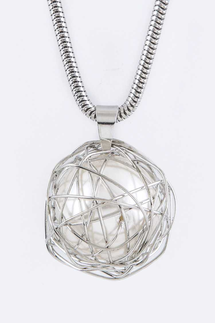 Wired Pearl Pendant Necklace