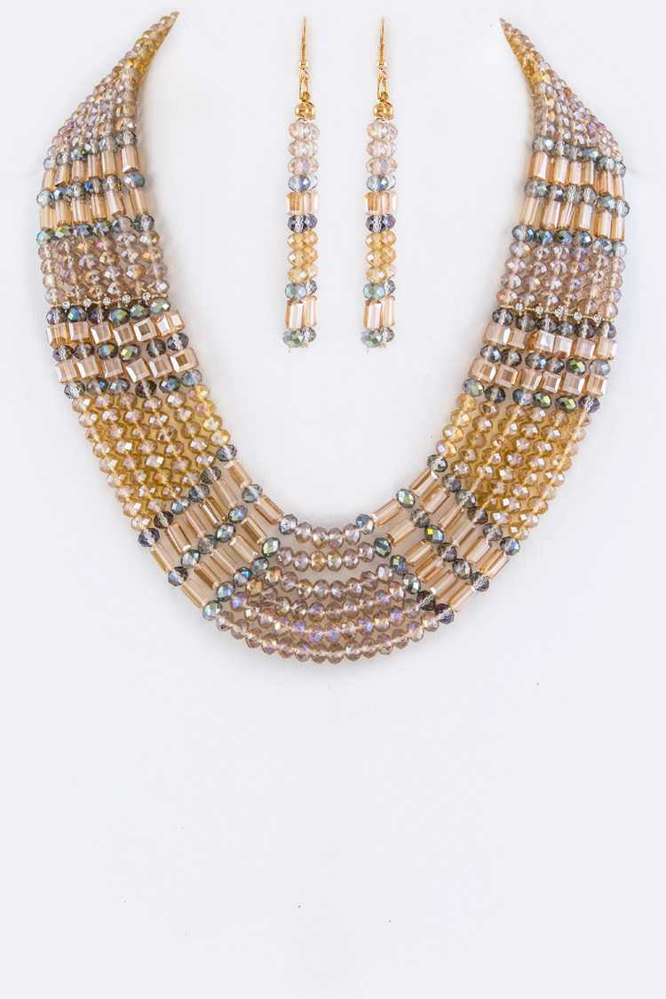 Crystal Mix Beads Layered Statement Necklace Set