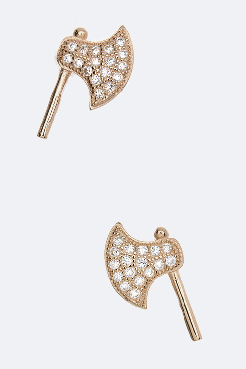 Sterling Silver CZ Axe Studs
