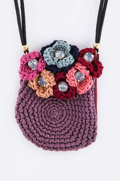 Floral Crochet Pouch Necklace