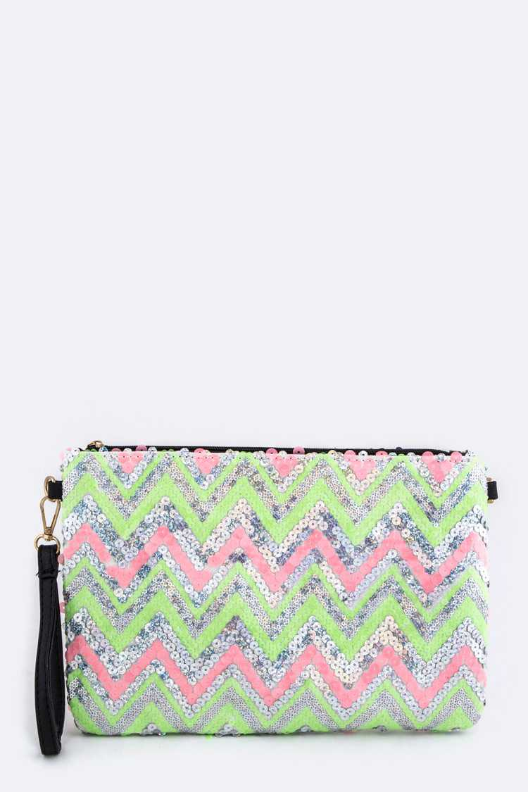 Sequins Chevron Pattern Convertible Clutch