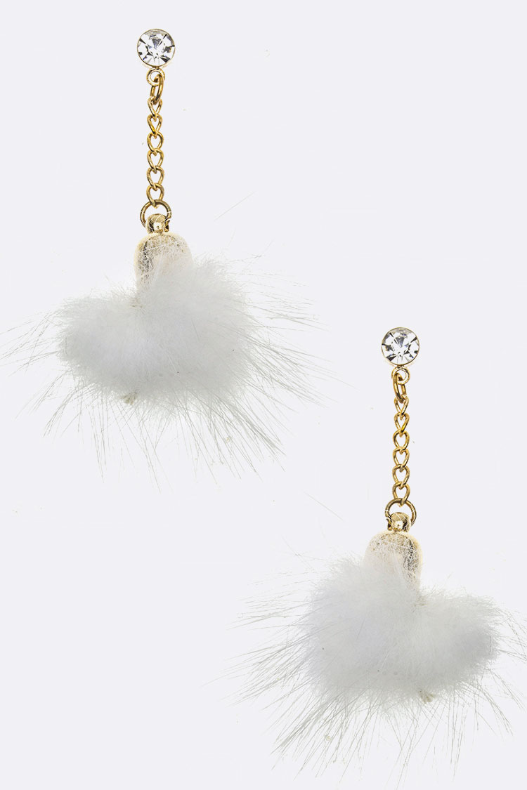 Fur Ball Dangle Earrings