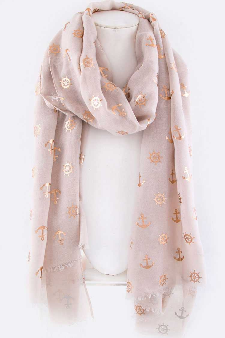Gold Foil Printed Anchor Fringe Scarf