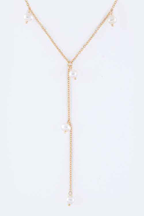 Stationed Pearl Drop Necklace