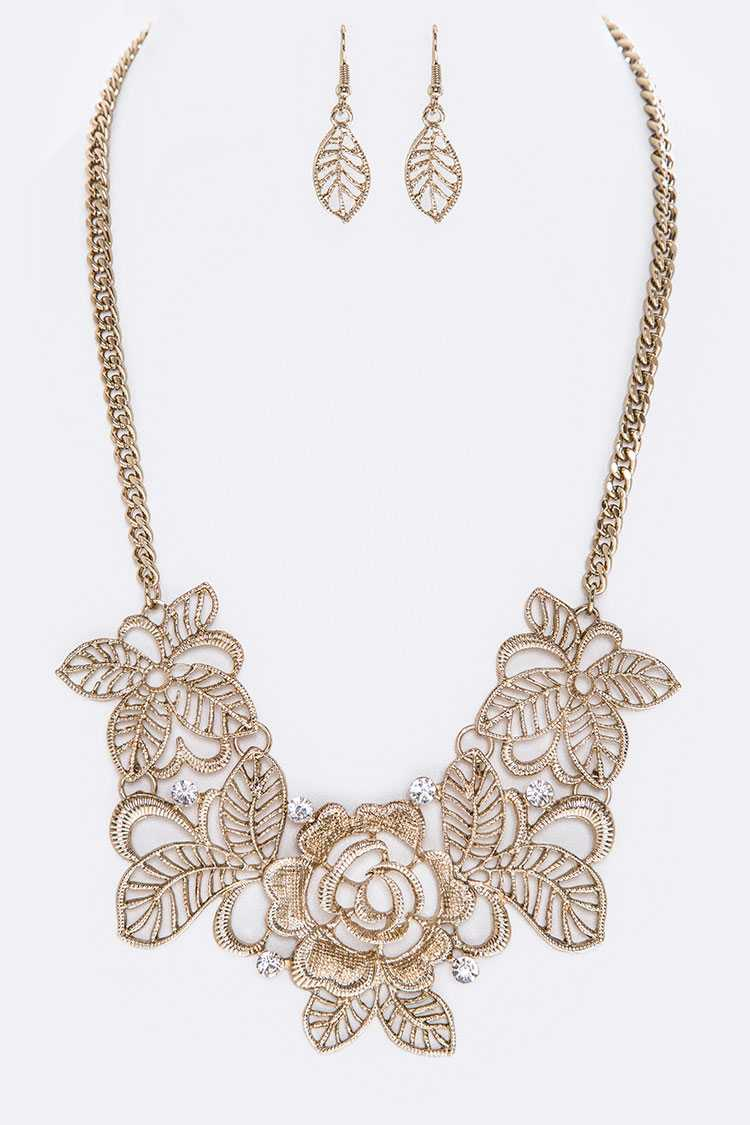 Cutout Flower & Crystal Statement Necklace Set