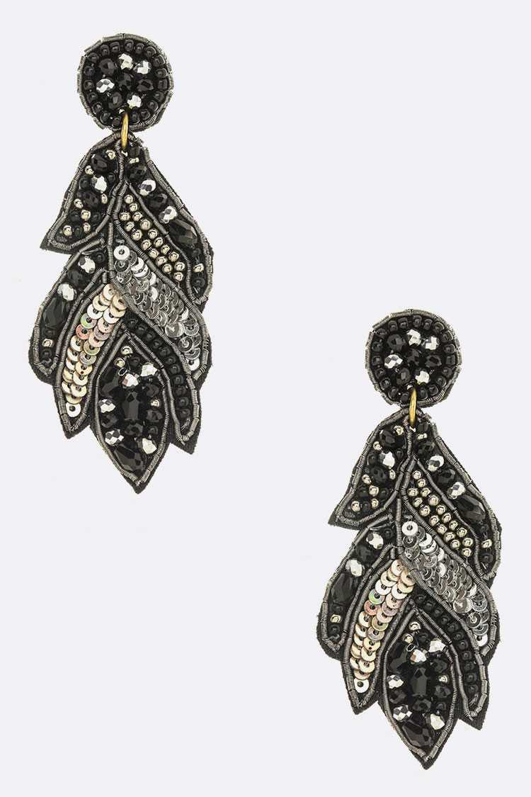 Beaded Sequins Leaf Iconic Earrings