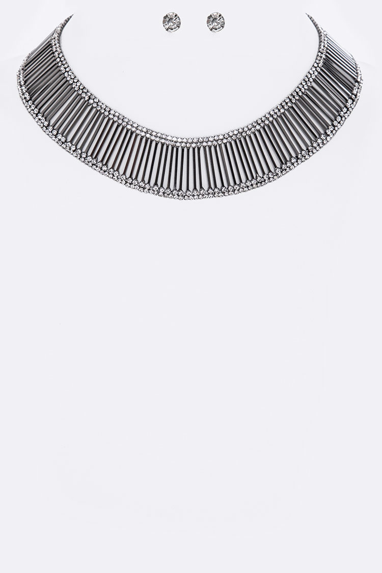 Crystals & Layer Metal Bars Collar Necklace Set