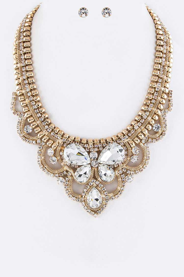 Layer Chain & Mix Crystals Statement Necklace Set