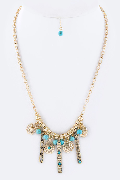 Turquoise Mix Charms Necklace Set