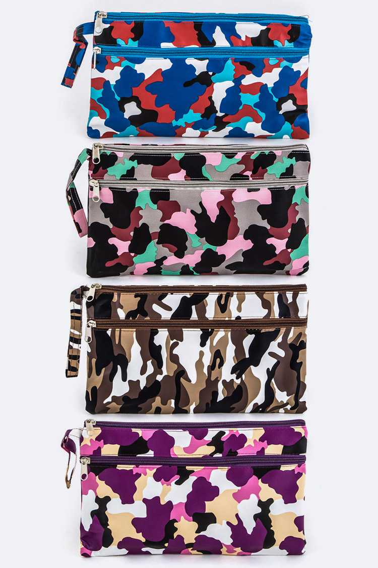 Assorted Camouflage Print Wristlet Pouches Set