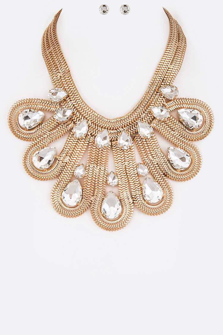 Crystal Coil Chain Statement Necklace Set