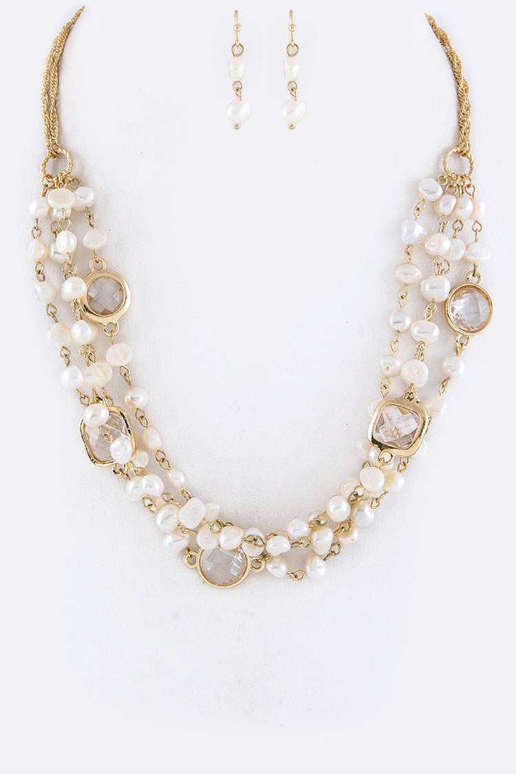 Crystal & Pearl Layer Necklace Set