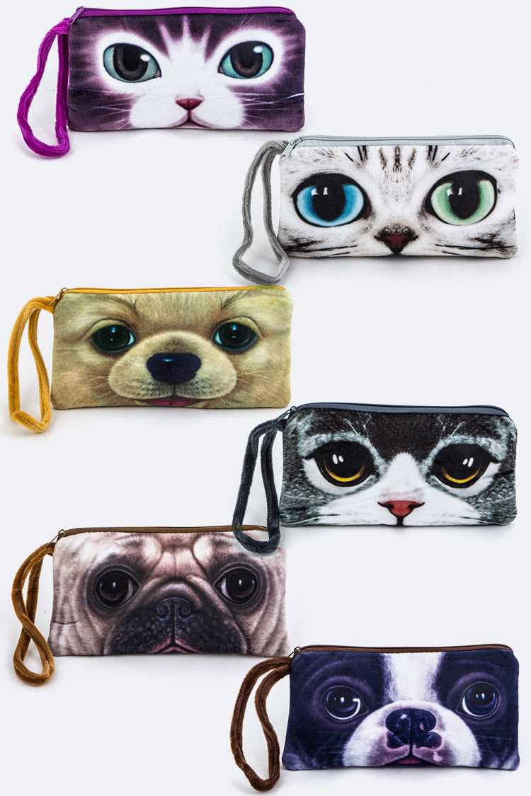 Assorted Kitty & Puppy Print Wristlet Pouches Set