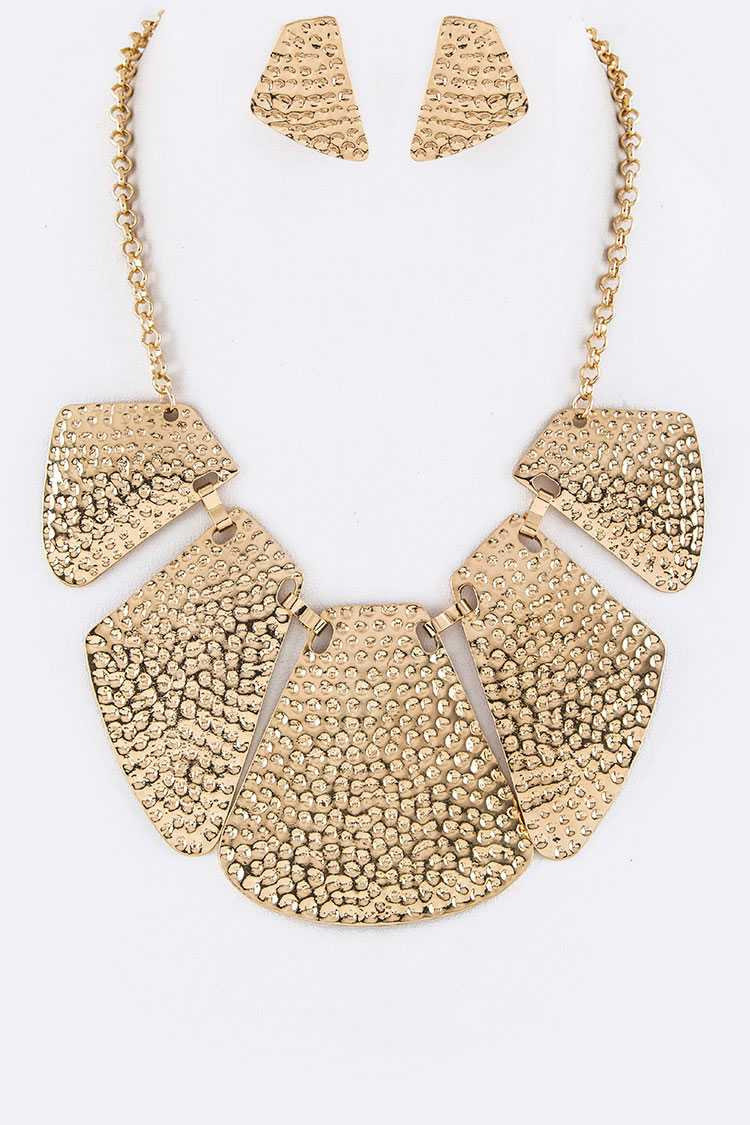 Textured Metal Plates Statement Necklace Set