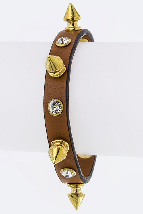 Crystal & Spik Skiny Leather Cuff