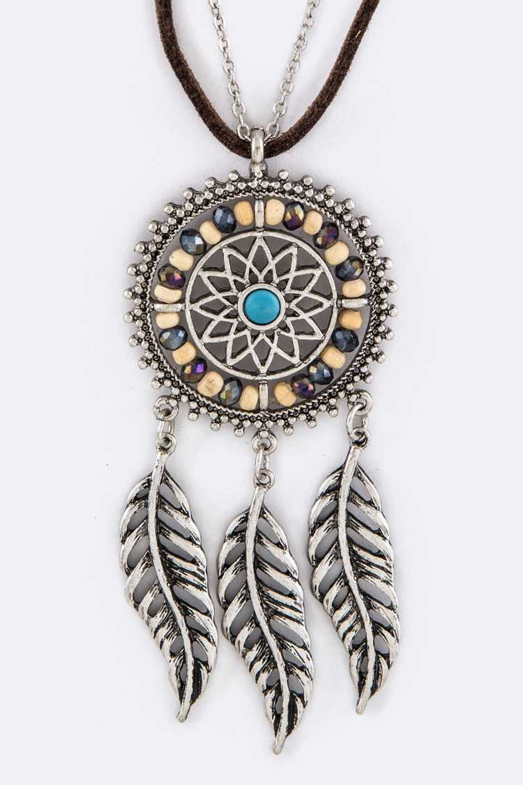 Beaded Dreamcatcher Pendant Layer Necklace