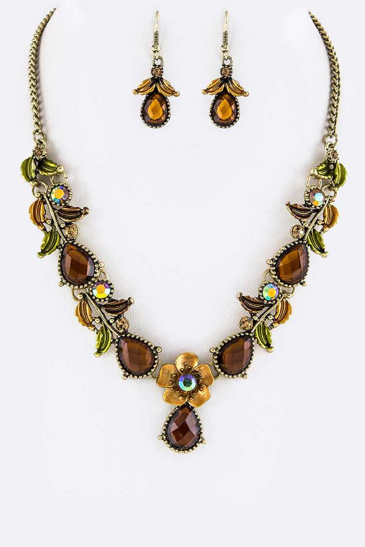 Mix Crystal Flowrs Statement Necklace Set