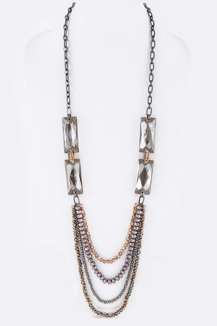 Large Baguette Crystal Long Layer Necklace