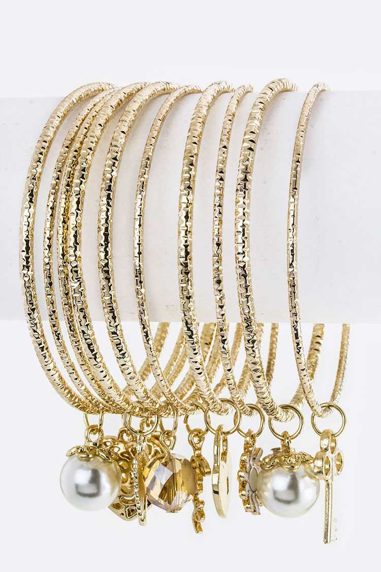 Mix Charm 3 Tone Stacking Bangles Set