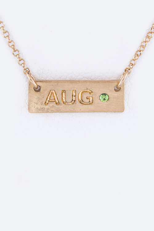 August Tag Necklace
