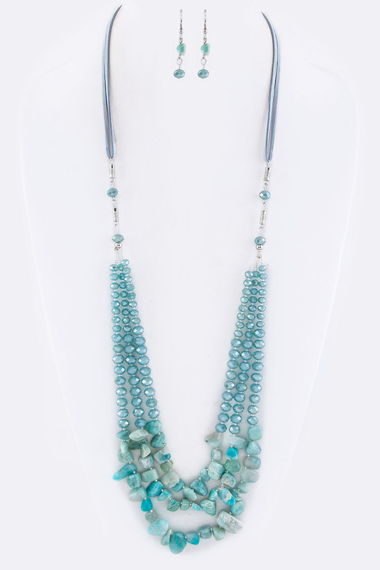 Beads & Stone Naggets Layer Necklace Set