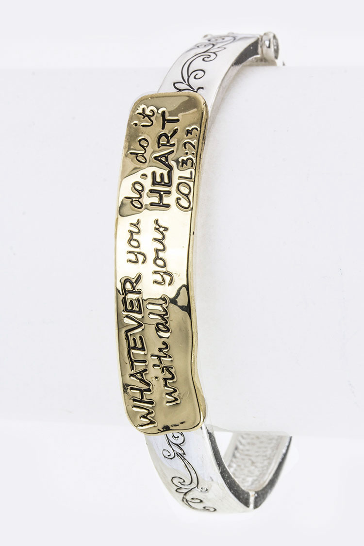 Colossians 3:23 Engraved Tag Stretch Bracelet