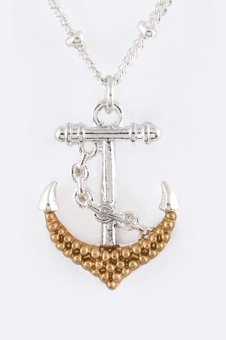 Paved Pearl Anchor Pendant Necklace