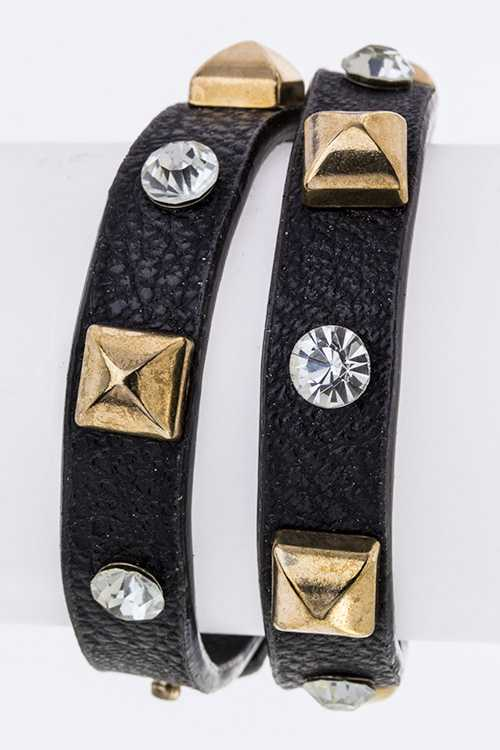 Pyramid & Crystal Studs Double Wrapped Bracelet