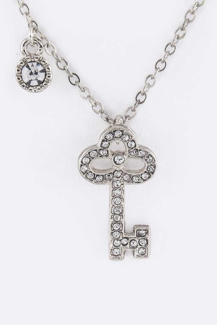Crystal Key Pendant Necklace