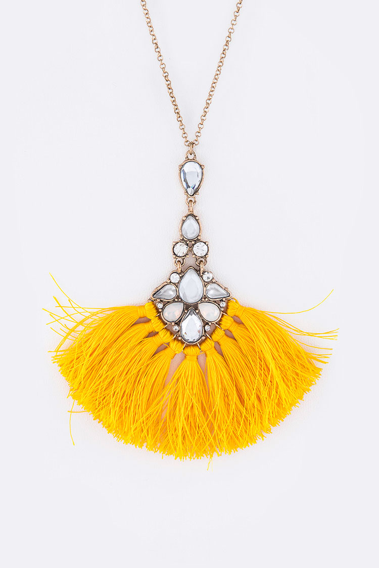 Crystal Accent Yarn Tassel Pendant Long Necklace