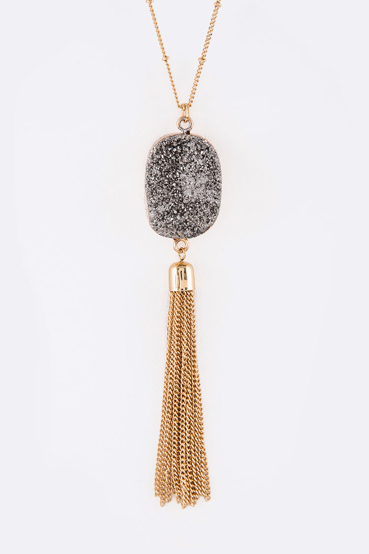 Druzy Metallic Tassel Chain Pendant Necklace