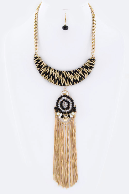 Woven Collar & Fringe Chains Necklace Set